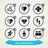 La vie dépistant des icônes Photo stock