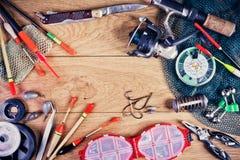 La vie d'attirails de pêche toujours Photo stock
