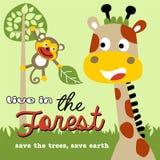 La vie dans la forêt avec la bande dessinée amicale d'animaux Image stock