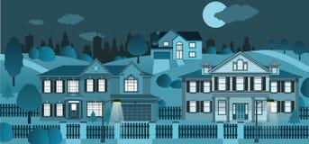 La vie dans la banlieue (nuit) Images libres de droits