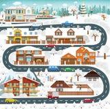 La vie dans les banlieues - hiver Photos libres de droits