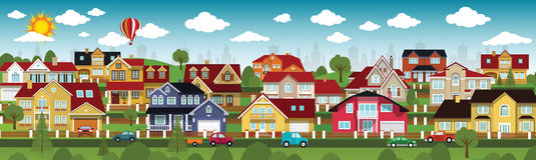 La vie dans les banlieues (jour d'été) Image libre de droits