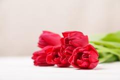 La vie de distillateur de cru avec un bouquet de ressort des tulipes Le concept du jour de mère, le jour des femmes Décorez la ma images stock