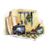 La vie de distillateur d'aquarelle avec des pots et des légumes illustration libre de droits