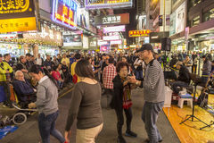 La vie de nuit à la région de Mong Kok en Hong Kong Image libre de droits