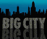 La vie de nuit urbaine de grands de ville d'horizon gratte-ciel de paysage urbain Photo stock