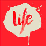 La vie de rouge d'aquarelle de lettrage Photos libres de droits