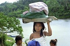 La vie de village de la rivière de Cocos d'Indiens, Nicaragua Photo stock