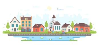 La vie de ville calme - illustration plate moderne de vecteur de style de conception illustration de vecteur