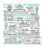 La vie de ville - ligne composition en conception illustration de vecteur