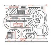 La vie de ville - ligne composition en conception illustration stock