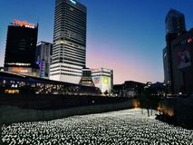 La vie de ville de nuit avec beaucoup de lumières Photo stock