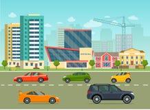 La vie de ville réglée avec des voitures, route, bâtiments Rue de ville panoramique illustration libre de droits