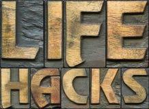 La VIE ENTAILLE l'impression typographique en bois photo stock