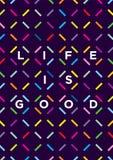 La vie est bonne typographie Concept exceptionnel d'affiche de motivation illustration stock