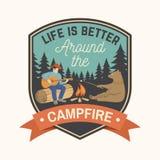 La vie est meilleure autour du feu de camp Illustration de vecteur illustration de vecteur