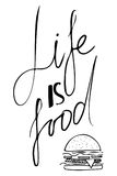 La vie est nourriture La nourriture est un art La bonne nourriture est bonne humeur Ma cuisine est pour la danse Image stock