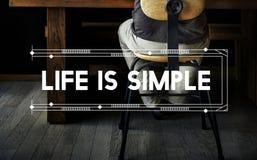La vie est simple détendent le concept de Word d'espace de travail Photo libre de droits