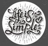 La vie est simple Dactylographiez la conception Illustration de vecteur Images stock