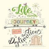 La vie est une carte de destination de voyage pas Lettre tirée par la main drôle Illustration de Vecteur