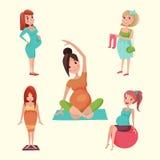 La vie heureuse de caractère de femme enceinte de concept d'attente de personnes de maternité de grossesse avec la grande illustr illustration de vecteur