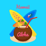 La vie heureuse insouciante d'Aloha Hawaii, illustration de vecteur Photos stock