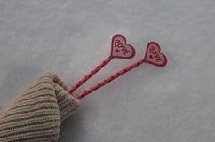 La vie l'amour de deux coeurs chauffe toujours dans la neige froide Deux coeurs roses sur la paille dans la neige, à l'intérieur  Photo libre de droits