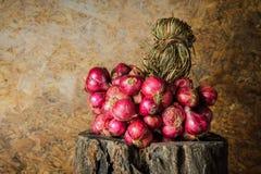La vie toujours avec des échalotes, oignons rouges Photos stock