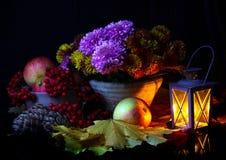 La vie toujours avec des pommes et des chrysanthèmes Images stock