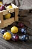 La vie toujours avec des prunes dans un panier sur la table Image libre de droits