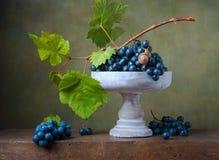 La vie toujours avec des raisins dans un vase Image libre de droits