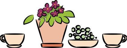La vie toujours avec la plante d'intérieur dans le pot de fleurs et la tasse illustration de vecteur