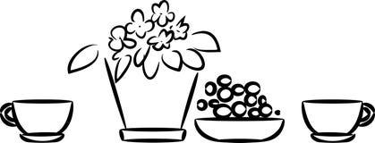 La vie toujours avec la plante d'intérieur dans le pot de fleurs et la tasse illustration stock