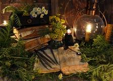La vie toujours avec le livre avec des orthographes magiques, des herbes, la bougie noire et la vieille lampe image stock
