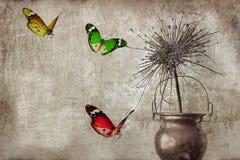 La vie toujours avec le sec dans un pot de tonnelier et des papillons colorés Photo stock