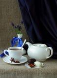 La vie toujours avec le service et le ressort de thé fleurit Photo libre de droits