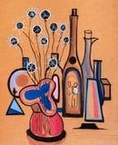 La vie toujours avec le vase et les fleurs sèches illustration stock