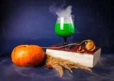 La vie toujours avec les boissons de potiron, de livre, roses et de Halloween Photographie stock