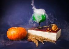 La vie toujours avec les boissons de potiron, de livre, roses et de Halloween Images libres de droits