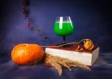 La vie toujours avec les boissons de potiron, de livre, roses et de Halloween photos libres de droits