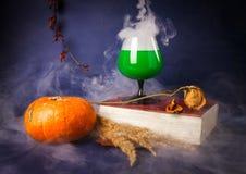 La vie toujours avec les boissons de potiron, de livre, roses et de Halloween photo libre de droits