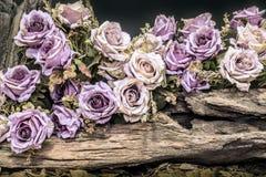 La vie toujours avec les roses et le bois de construction pourpres Photographie stock libre de droits