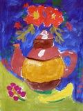 La vie toujours avec la théière et les fleurs faites par l'enfant Image libre de droits