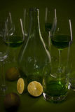 La vie toujours avec une bouteille verte Photographie stock libre de droits