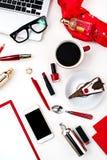 La vie toujours de la femme de mode, objets sur le blanc Photo stock