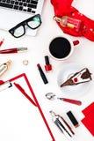 La vie toujours de la femme de mode, objets sur le blanc Photos stock