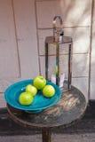 La vie toujours de la lanterne argentée et des pommes vertes Image stock