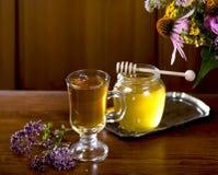 La vie toujours des herbes médicinales, miel, tisane Photographie stock libre de droits