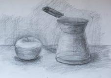 La vie toujours, dessin au crayon Photographie stock libre de droits