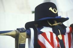 La vie toujours du drapeau uniforme et américain du site de la bataille de Manassas, début de repérage de guerre civile images stock